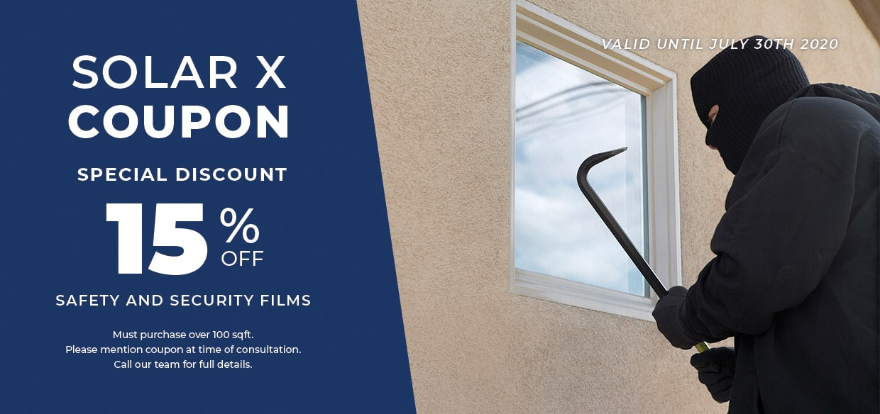 15% off Coupon for Safety and Security window film systems from Solar X